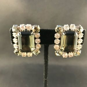Vintage smoke colored rhinestone clip earrings